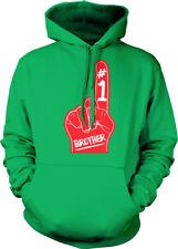 #1 Brother Number One Red Foam Finger Best Greatest World Bro Hoodie Sweatshirt