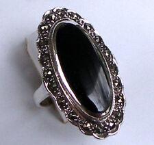 925 ECHT SILBER *** Großer Onyx-Markasit Ring, Größenauswahl