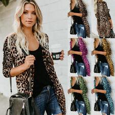 AU Womens Button Leopard Print Cardigans Coat Ladies Long Sleeve Blouse Outwear