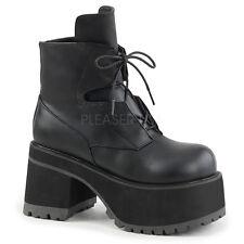 "DEMONIA Punk Goth Gothic 4"" Heel Platform Black Ankle High Boots RAN102/BVL"