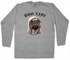 PUG LIFE I LANGARM T-SHIRT Hip Hop Ghetto Life Gangster OG Criminal Rap