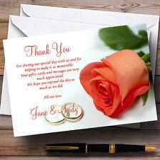 Orange corail pêche rose anneaux de mariage personnalisé cartes remerciement