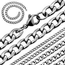 Collar para hombre, cadena de acero inoxidable sólido encintado bizantino plata