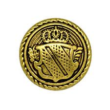 In Metallo Oro Antico SCUDO CORONA MILITARE STEMMA PULSANTE Shank Taglia 32 L 20 mm