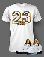 a55ee2f1366 Tee Shirt to match Jordan 5 Olympic 23 Shirt Gold Mens White Short Sleeve  Tshirt