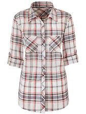 Marisota sz 12 14 18 22 Cotton Checked Shirt Blouse Grey Red White Anthology New