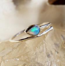 Silberring 56 58 59 Schlicht Modern Elegant Welo Opal Feueropal Blau Grün Feuer