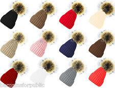New Designer Ladies Men Chunky Cable Knit Fur Pom Pom Bobble Hat Beanie Cap Size