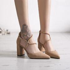 zuecos zapatillas 9 cm elegantes beige talón cuadrado sandalias como piel 9965