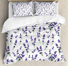 Lavender Duvet Cover Set with Pillow Shams Watercolor Art Plant Print