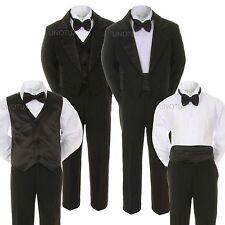 6pc Baby Child Teen Boy Vest Cummerbund Formal Party Tail Tuxedo Black Suit S-20