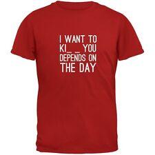 I Want to Kiss Kick Kill You Red Adult T-Shirt