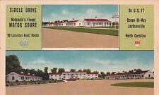 Postcard Circle Drive Motor Court Jacksonville NC