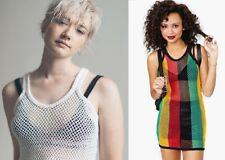 Womens Rasta Stripe Cotton crochet vest Dress Fishnet Top Reggae See through net
