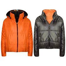 Girls Jackets Kids Orange Reversible Cropped Hooded Padded Puffer Jacket Coats