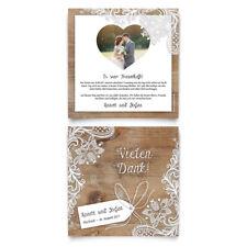 Danksagungskarten - Rustikal in Weiß - Dankeskarten Danksagung Hochzeit