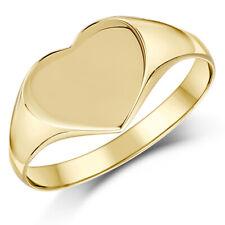 Mujer Anillo Con Sello 9 Ct Oro Amarillo Forma De Corazón