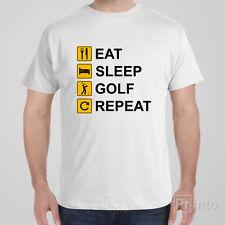 Funny T-shirt EAT SLEEP GOLF REPEAT cool novelty tee shirt
