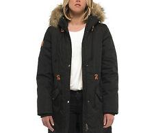 Giacca da donna nera Element landry stile parka pelliccia con cappuccio casual
