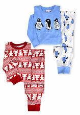 Girls Christmas PJS New Kids Long Sleeved Teddy Penguin Pyjama Set 2-13 Years