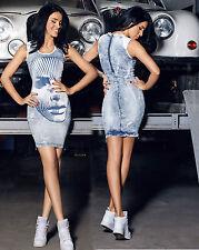 Foggi Jeanskleid Jeans Minikleid Lederlook Damen Stretchkleid Damenkleid XS-M