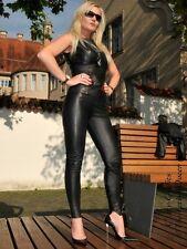 Lederhose Leder Hose Schwarz Knalleng Gelochtes Leder Größe 32 - 58 XS - XXXL
