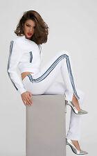 By Alina 2-Teiler Damenjacke Röhrenhose Hausanzug Jeans Freizeitanzug Weiß XS-M