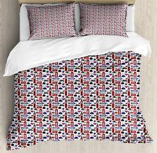 London Duvet Cover Set with Pillow Shams UK English Landmarks Print