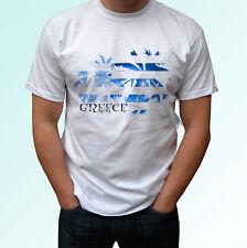 Bandera de Palma de Grecia-Blanco camiseta Vacaciones Top Tamaños De Diseño Hombre Mujer Niños Bebé