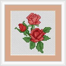 Roses Rouge Cross Stitch Kit-Luca S-débutant 8 cm x 9cm