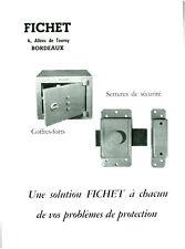 """Publicité Ancienne """" Coffres-Forts - Serrures...FICHET """" 1964  ( P 15 )"""