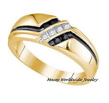 Men'S 14K Yellow Gold Twilight Black Diamond Stunning Band Ring .22 Ct