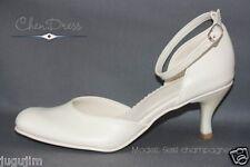 Leder Brautschuhe Damenschuhe in weiss oder hellcreme / ivory Sesil