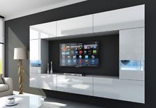 Moderne Wohnwand Schrankwand LEJDA Hochglanz Möbel 3 Farben Weiß Schwarz Braun