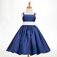 Navy Blue Christmas Spaghetti Straps Flower Girl Dress 12-18M 2 4 5/6 8 10 12