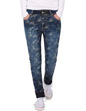 Damen Jeans Hosen normal fit camouflage Damenhose stretch gerade blau neu