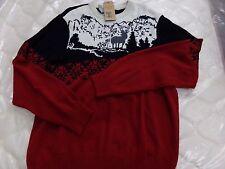 Mens Dockers Red & Black Lodge Winter Sweater Deer & Snowflakes NEW
