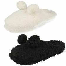 Ladies Eaze Fluffy Pom Pom Front Slippers