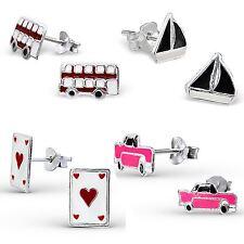 925 argento Sterling Orecchini Borchie Ragazze Designs-Personaggi dei trasporti-Boxed