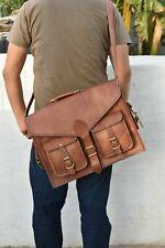 Briefcase Satchel Soft Dark Leather Laptop Messenger Bag Shoulder Men New