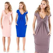 Minikleid Top Kleid V-Ausschnitt Top 6 Farben Gr. S M L XL XXL 3XL, 005