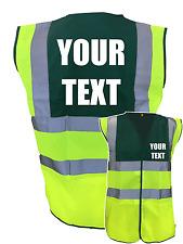 GREEN/YELLOW CUSTOM HI VIS VEST WAISTCOAT JACKET TOP QUALITY, WORKWEAR YOUR TEXT