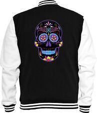 Mexican Sweat College Jacke Neon Sugar Skull Rockabilly Biker