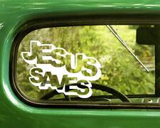 2 JESUS SAVES DECALs Religion Stickers For Car Window Truck Bumper RV