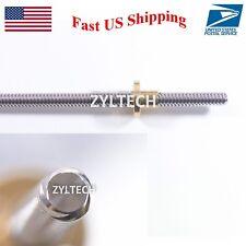 8mm Lead Screw Threaded Rod w/ Nut T8 Trapezoidal ACME Stepper 200 300 400 cut