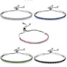 Women's Trendy Adjustable Silver CZ Charm Bracelets Jewellery Gift Colour Option