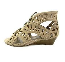 Ladies Taupe Gladiator OpenToe Beige Ankle LaceUp Sandals Flat Shoe UK Sizes 3-8