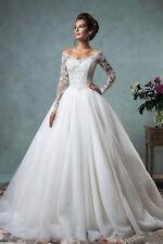 Lace Wedding Dresses V Neck Applique Long Sleeve White/Ivory Bride Gowns Dresses