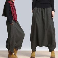 Women Casual Mid Waist Harem Pants Ankle Length Elastic Joggers Trousers shan