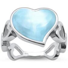 Natural Larimar Heart Shape Band .925 Sterling Silver Ring